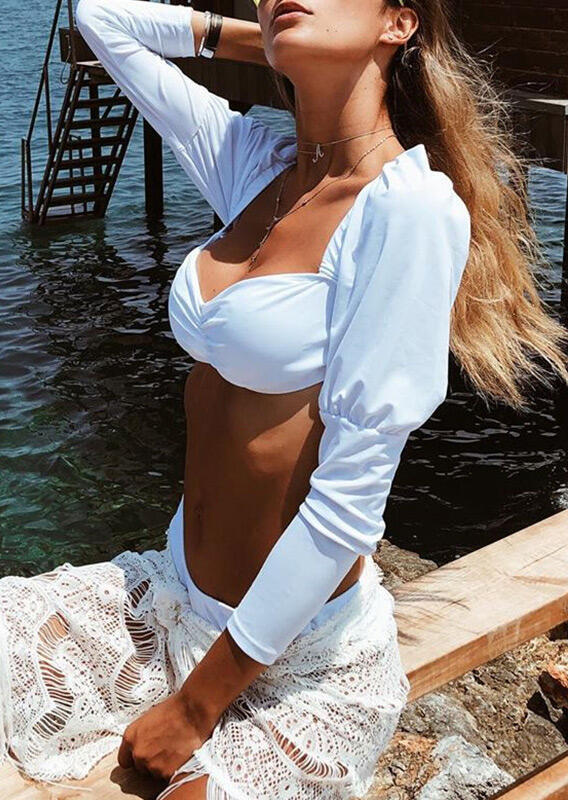 Ruffled Ring Long Sleeve Tankini without Necklace - White