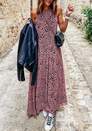 Leopard Zipper Halter Maxi Dress