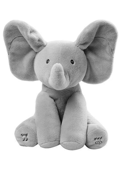 Baby Peek A Boo Animated Singing Elephant Flappy Plush Toy