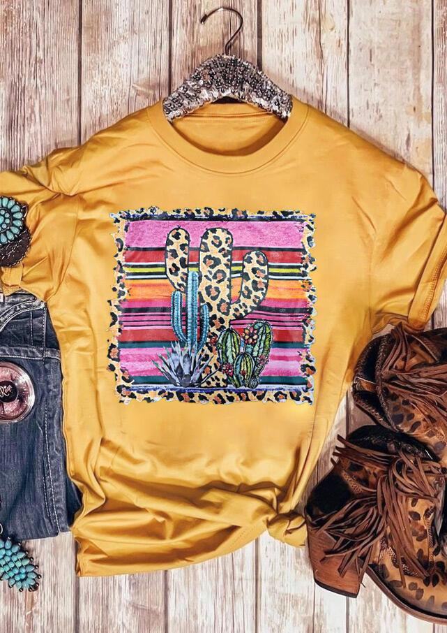 Leopard Printed Cactus O-Neck T-Shirt Tee – Yellow