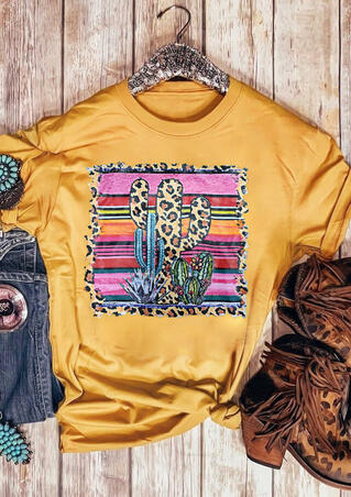 Leopard Printed Cactus O-Neck T-Shirt Tee - Yellow