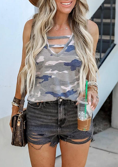 Camouflage Printed Hollow Out Tank without Necklace