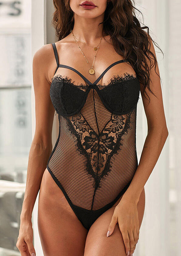 Black Lace Floral Mesh Sheer See-Through Teddy Bodysuit Lingerie in Black. Size: S,M,L фото