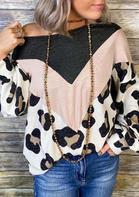 Color Block Leopard Splicing Blouse without Necklace