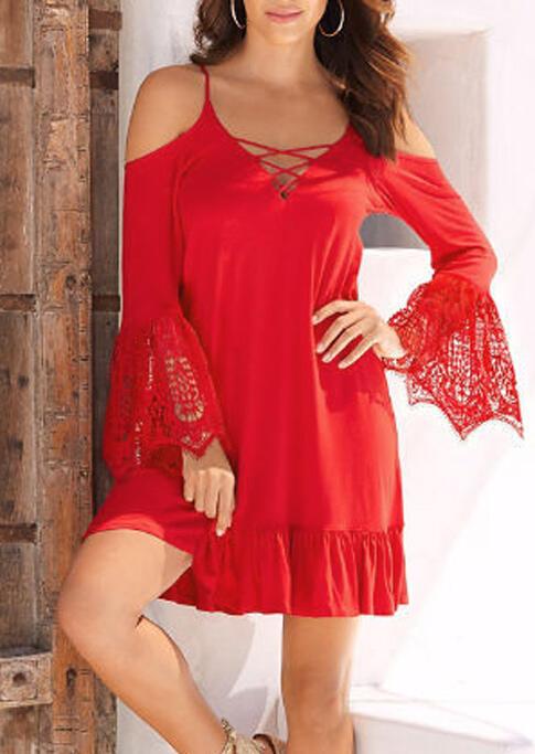 Lace Splicing Criss-Cross Ruffled Mini Dress - Red фото
