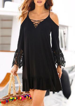Lace Splicing Criss-Cross Ruffled Mini Dress - Black