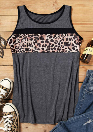 Leopard Printed Splicing Tank - Gray