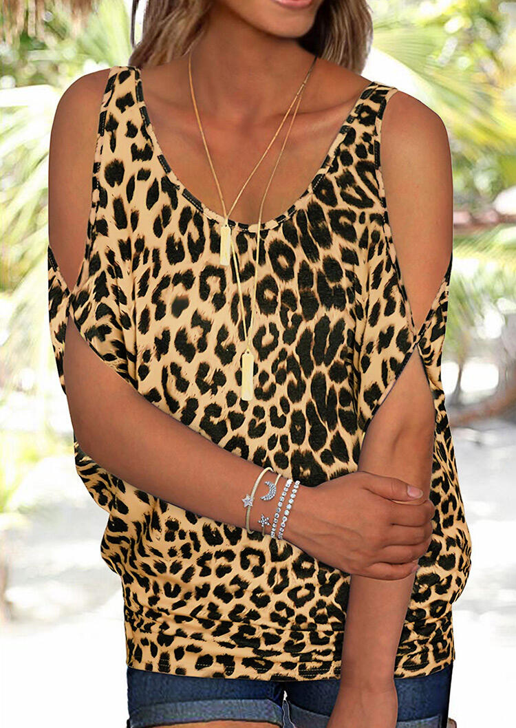 Leopard Printed Cold Shoulder Tie Blouse фото