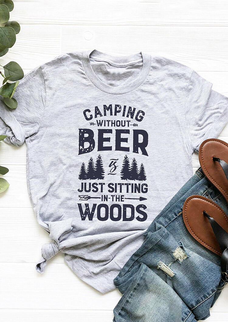 Camping Without Beer T-Shirt Tee – Gray