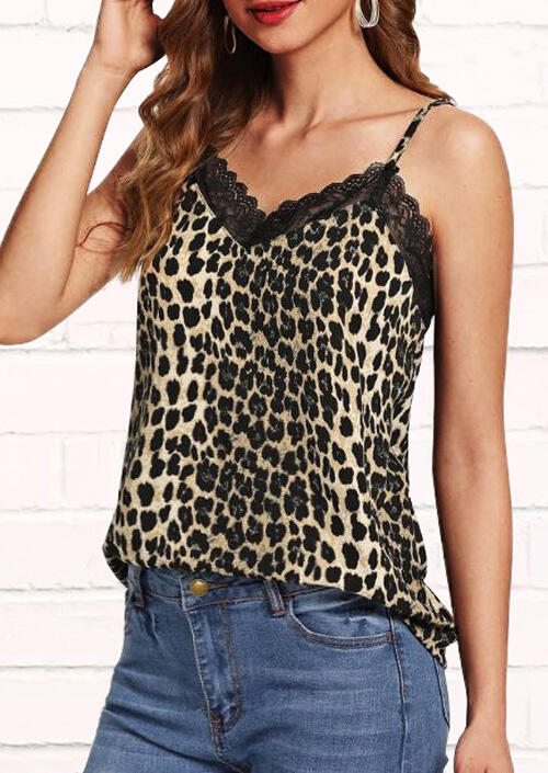 Tank Tops Leopard Printed Lace Splicing Camisole in Leopard. Size: S,M фото