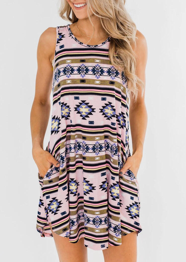 Aztec Geometric Printed Pocket Mini Dress without Necklace - Multicolor фото