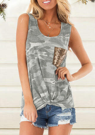 Camouflage Printed Sequined Splicing Tank without Necklace