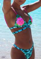 Floral Camouflage Criss-Cross Bikini Set