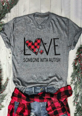 Plaid Love Someone with Autism T-Shirt Tee - Gray