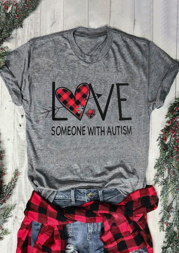 Tees T-shirts Valentine Plaid Printed Love Someone with Autism T-Shirt Tee - Gray. Size: S,M,,XL