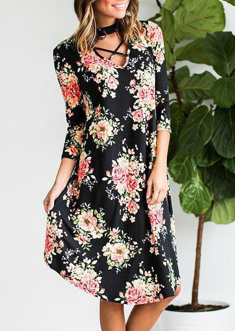Women Floral Criss-Cross Choker Halter Casual Midi Dress Three Quarter Sleeve Midi Dress in Black. Size: S,M,L,XL фото