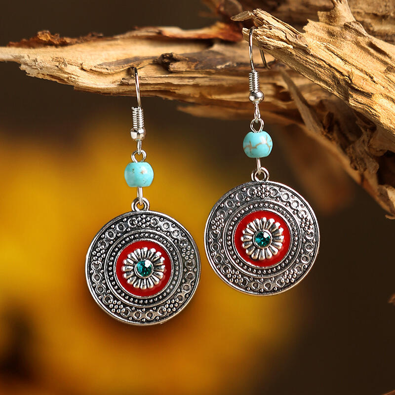 Vintage Turquoise Rhinestone Round Earrings
