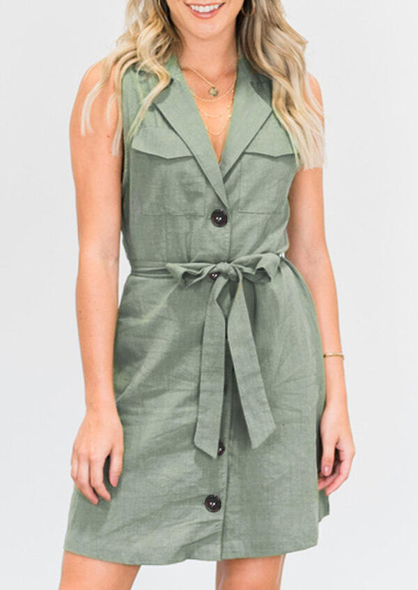 Button Pocket Tie Mini Dress without Necklace - Light Green фото