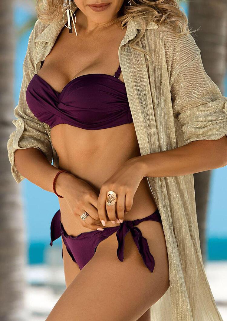 Ruffled Tie Low Waist Bikini Set - Purple фото