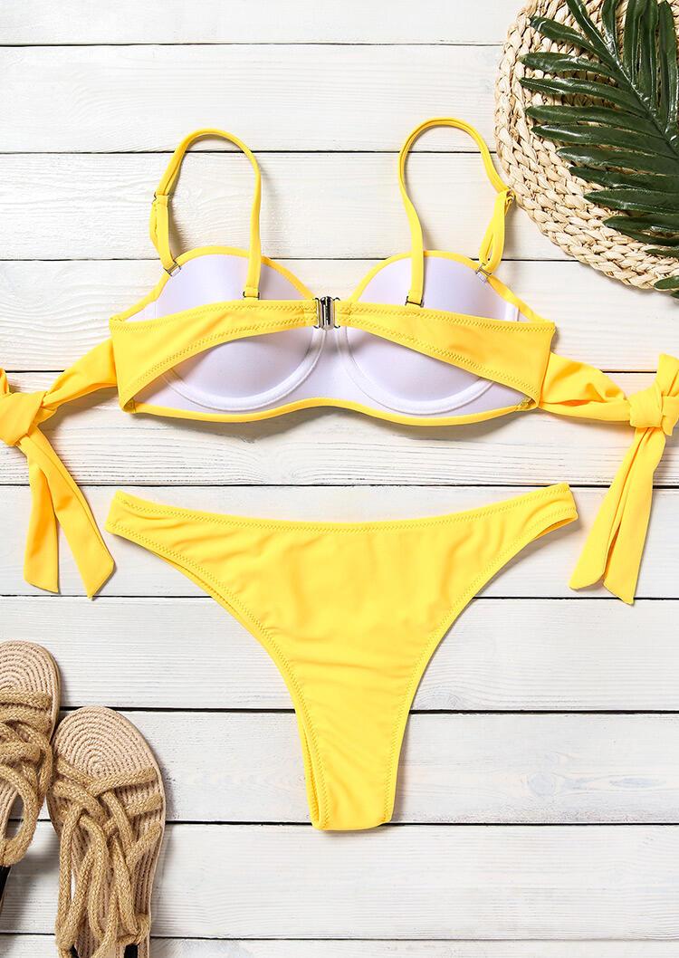 Rhinestone Tie Sexy Bikini Set - Yellow