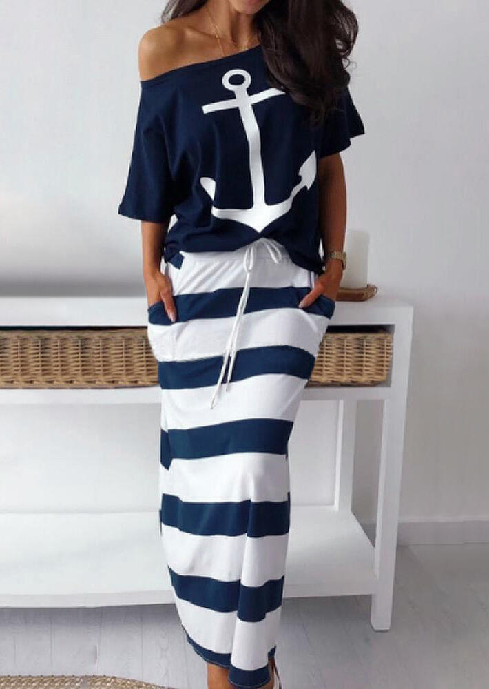 Two-piece Dresses Anchor Blouse + Striped Long Skirt Outfit without Necklace in Navy Blue. Size: S фото