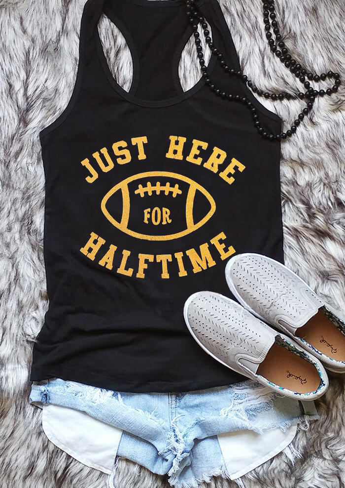 Just Here For The Halftime Football Tank - Black фото