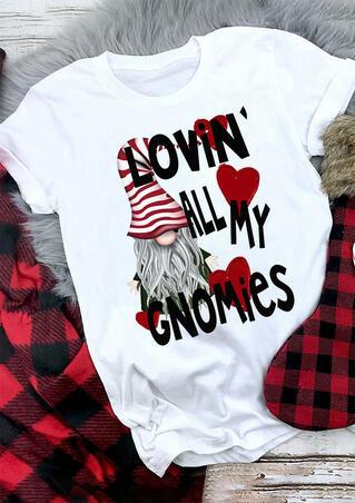 Lovin' All My Gnomies Heart T-Shirt Tee - White