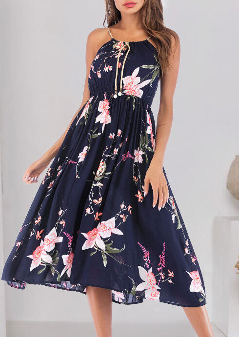Casual Dresses Floral Pearl Tie Ruffled Casual Dress - Navy Blue. Size: XL фото