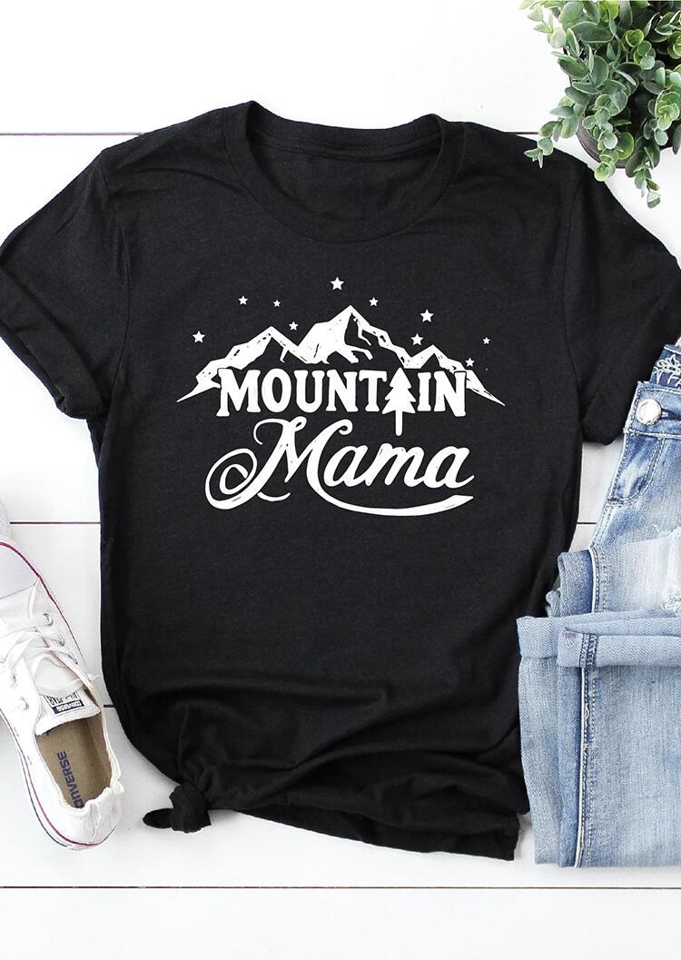 Mountain Mama Star O-Neck T-Shirt Tee - Black фото