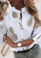 Summer Outfits Pineapple Button Tab-Sleeve Blouse