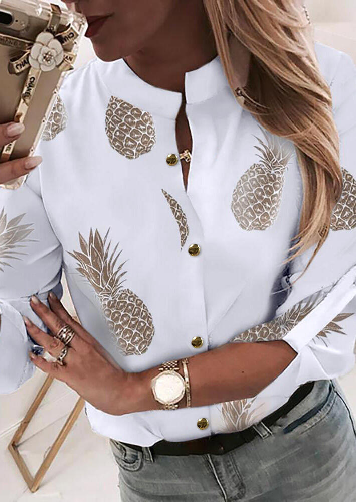 Blouses Pineapple Button Tab-Sleeve Blouse without Necklace in White. Size: S,M,L,XL фото