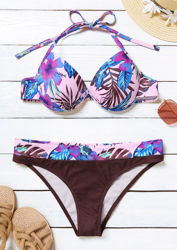Tropical Leaf Floral Halter Bikini Set in Pink. Size: S,M,L,XL фото