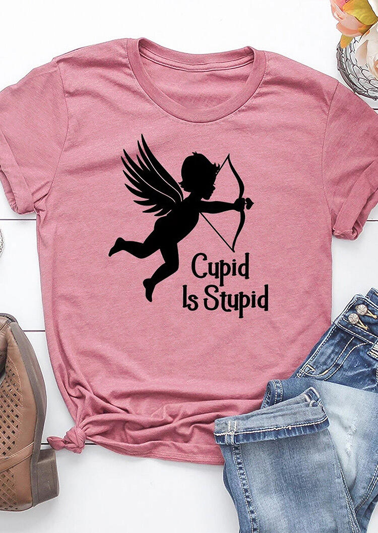 Tees T-shirts Valentine Cupid Is Stupid O-Neck T-Shirt Tee - Pink. Size: S,M,,XL