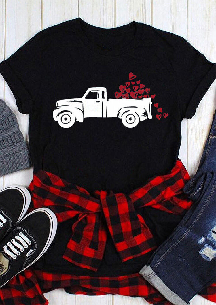 Tees T-shirts Love Heart Truck O-Neck T-Shirt Tee in Black. Size: S фото