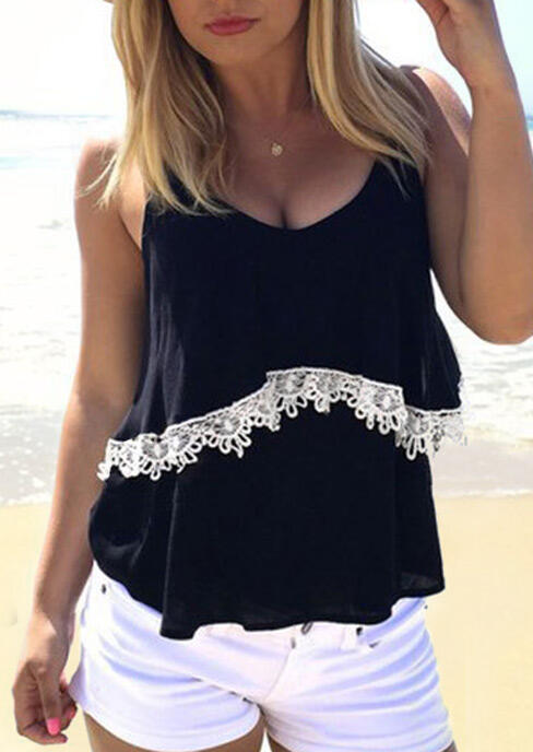Lace Splicing Camisole without Necklace - Black фото