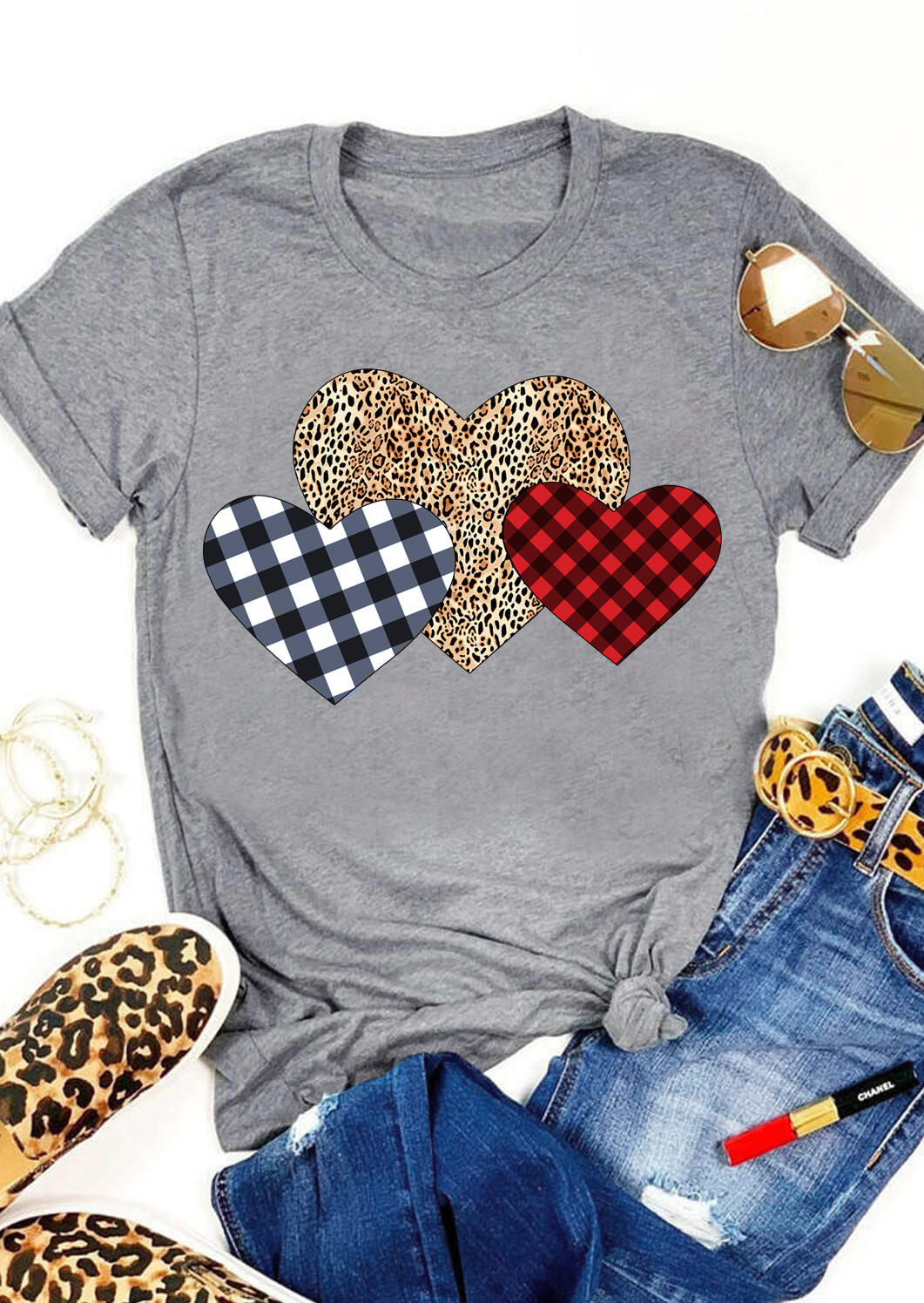 Valentine Plaid Leopard Printed Splicing Heart T-Shirt Tee - Gray