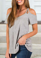 Summer Outfits Hollow Out Cold Shoulder Blouse