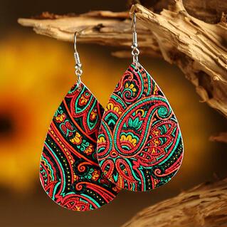 Mandala Printed PU Leather Earrings