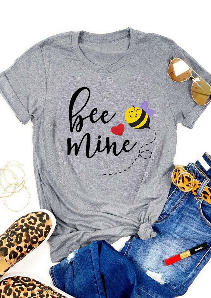 Tees T-shirts Valentine Heart Bee Mine O-Neck T-Shirt Tee - Gray. Size: S,M,,XL