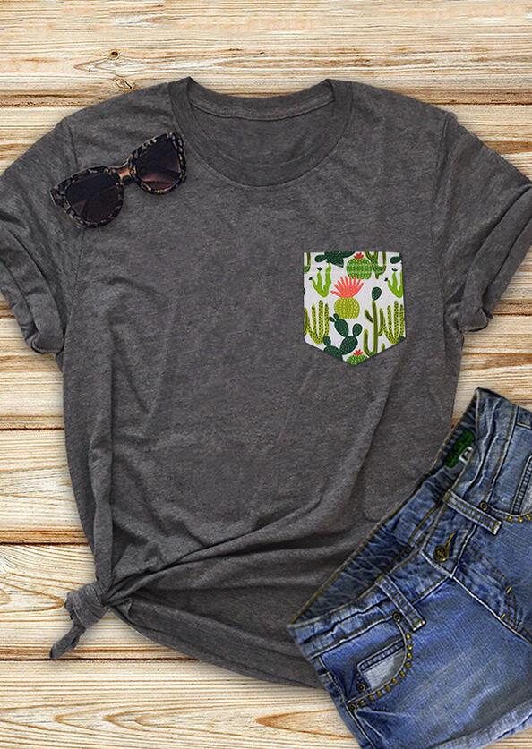 Cactus Pocket T-Shirt Tee - Gray фото