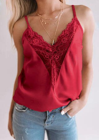 Lace Splicing Camisole without Necklace - Burgundy