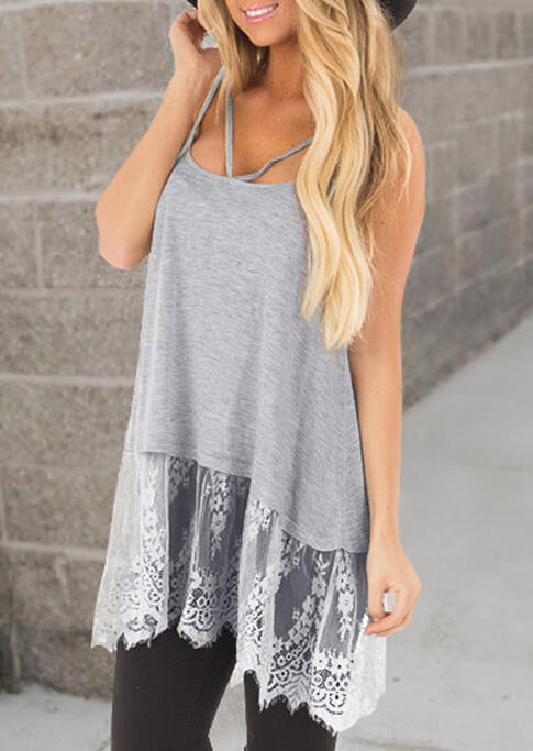 Tank Tops Lace Splicing Hollow Out Camisole - Light Grey. Size: S,M,L фото