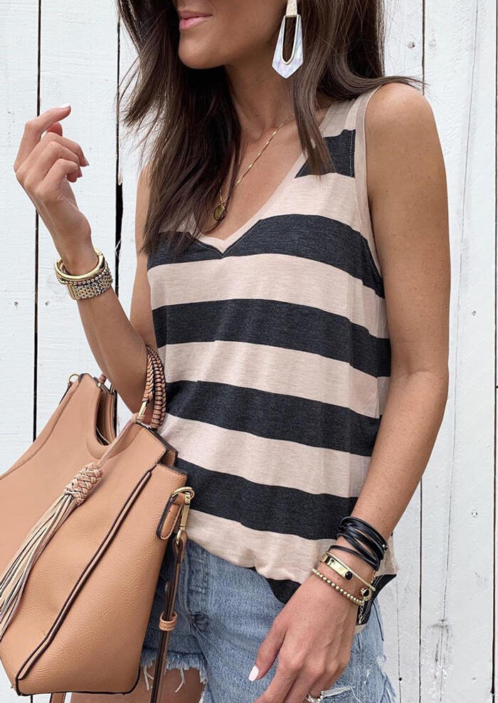 Color Block Striped Tank without Necklace фото