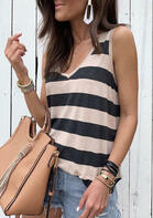 Summer Outfits Color Block Striped Tank