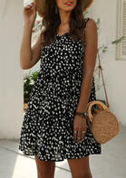 Trendy Summer Outfits Polka Dot Ruffled Sleeveless Mini Dress