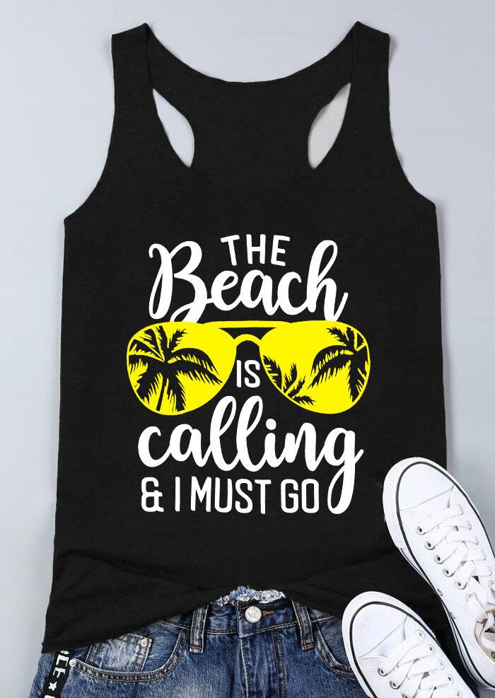 The Beach Is Calling Tank – Black