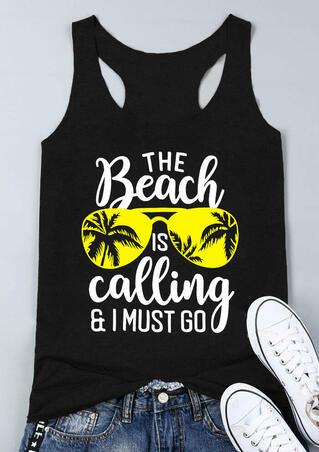 The Beach Is Calling Tank - Black