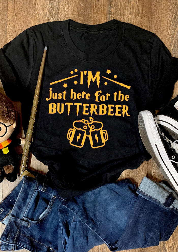 Tees T-shirts I'm Just Here For The Butterbeer O-Neck T-Shirt Tee - Black. Size: S,M,L,XL фото
