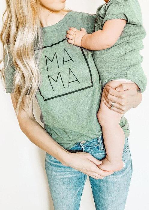 Mama O-Neck T-Shirt Tee - Light Green фото