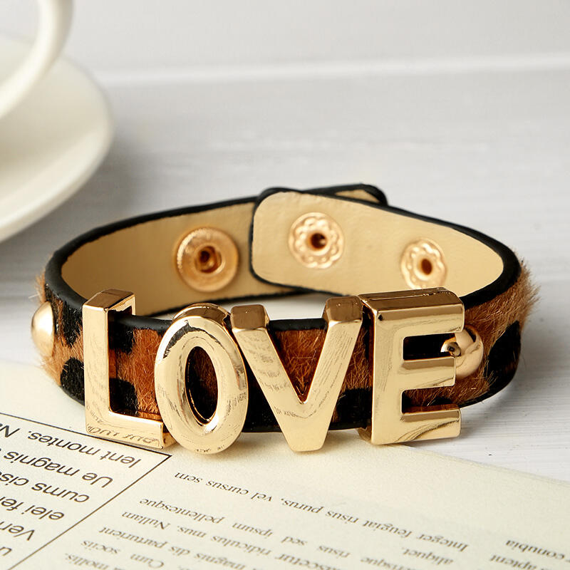 Love Leopard Printed Faux Fur Buckle Bracelet